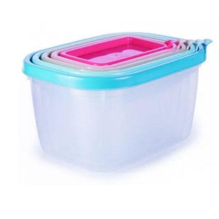 Conjunto 5 Potes Plásticos Conect Plasútil Tipo Tupperware