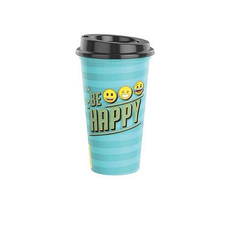 Copo de Plástico 500 ml com Tampa Emoji