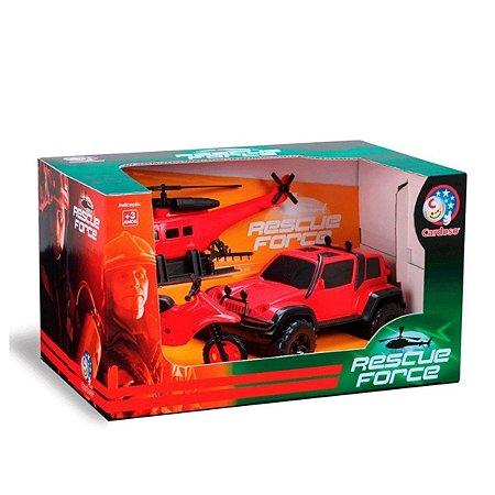 Playset New Rescue Force - Vermelho e Preto - Bombeiro - Cardoso
