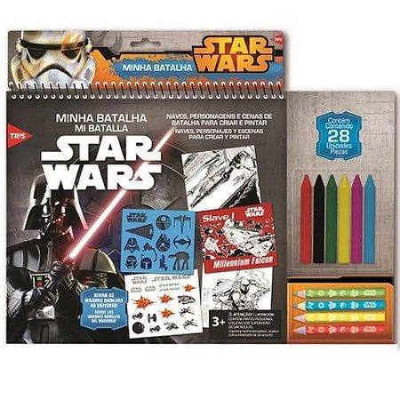 Kit Star Wars Minha Batalha Lápis De Cor + Giz De Cera