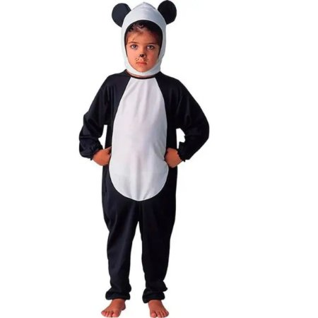 Fantasia de Urso Panda Infantil Animais Completa Com Touca M - Sulamericana