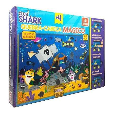 Quebra Cabeça Infantil Mágico Shark Em Madeira 48 Peças
