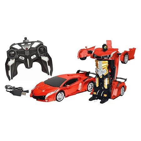 Carrinho De Controle Remoto Vermelho Que Transforma Em Robô - DM Toys