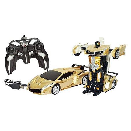 Carrinho De Controle Remoto Dourado Que Transforma Em Robô - DM Toys