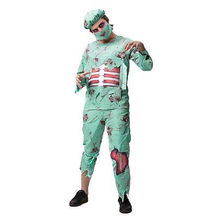 Fantasia Halloween Adulto Cirurgião Zumbi
