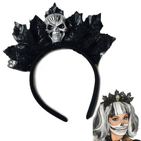 Tiara Preta Caveira Halloween
