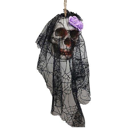 Enfeite Caveira Com Véu e Flor Halloween