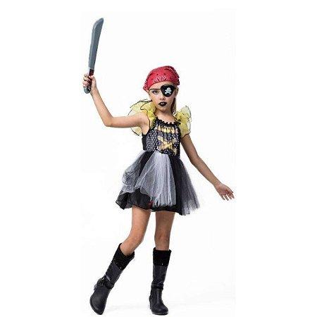 Fantasia Halloween Infantil Menina Pirata