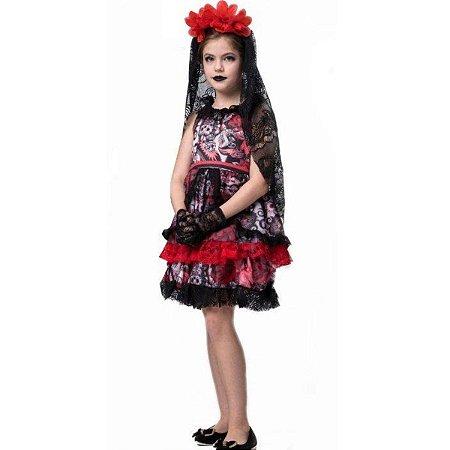 Fantasia Halloween Infantil Rainha Dos Mortos