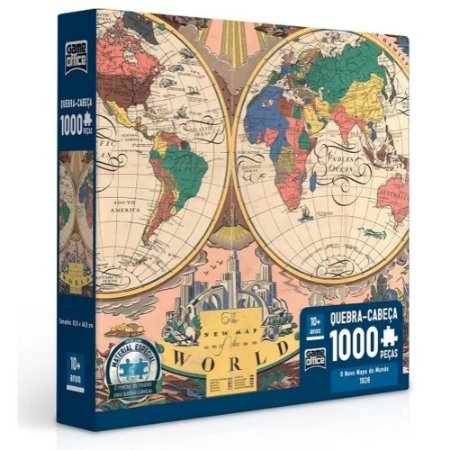 Quebra Cabeça 1000 Peças O Novo Mapa Do Mundo 1928 Toyster