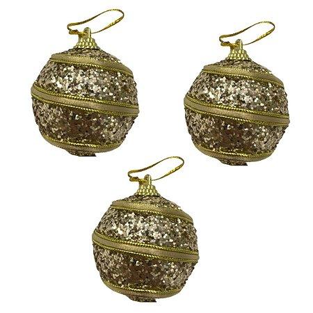 Kit com 3 bolas Douradas decoradas 6 cm
