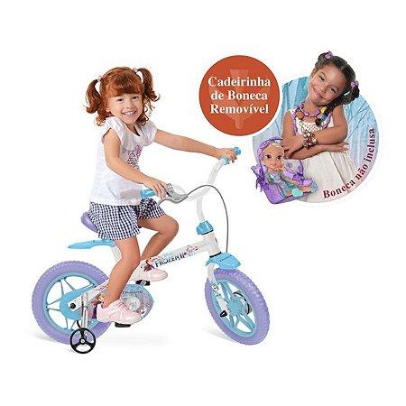 Bicicleta aro 14 Frozen 2 Bandeirante com rodinhas