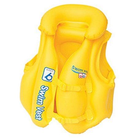 Colete Inflável Swim Ring Amarelo C/ Encosto - Bestway