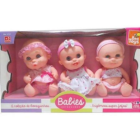 Bonecas Baby Bebe Trigêmeas Expressões Babies Bee Toys