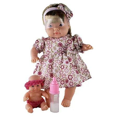 Bonecas Family Me Mãe e Filha Loira C/ Mamadeira-Bee Toys