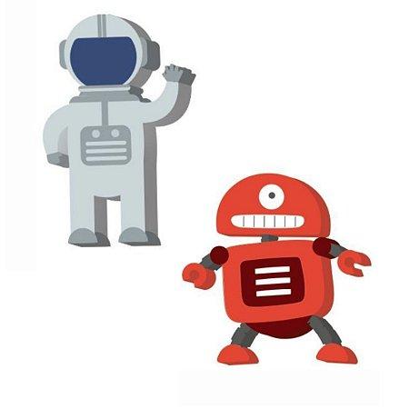 Kit Com 2 Borrachas Robô E Astronauta - Leo E Leo