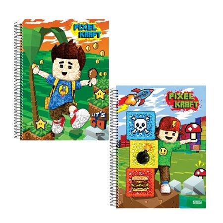 Kit Com 2 Cadernos Universitário 96 folhas – Pixel Kraft Sortido – São Domingos