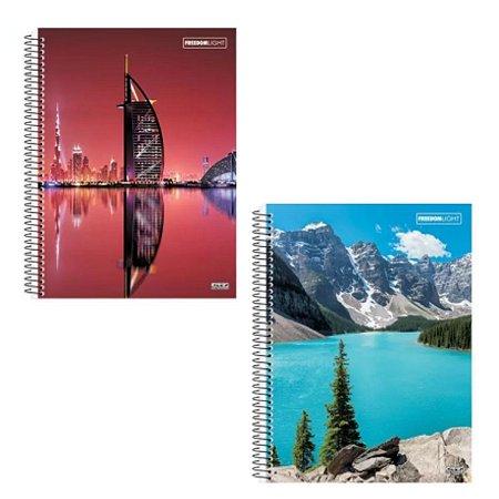 Kit Com 2 Cadernos Universitário Espiral 80 Folhas - Freedom Light