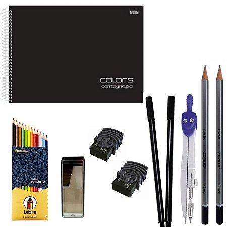 Kit Escolar Black Caderno de Desenho, Lápis, Borracha, Compasso...