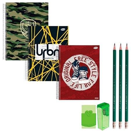 Kit Escolar Com Cadernos Lápis Apontador Borracha