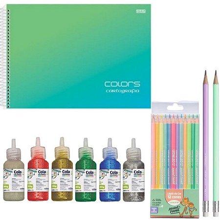 Kit Escolar Caderno De Desenho, Lápis Pastel Trend, Cola Colorida