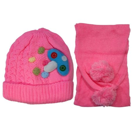 Kit De Inverno Infantil Com Touca E Cachecol Rosa