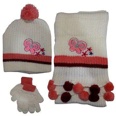 Kit De Inverno Infantil Com Touca E Cachecol Borboletas Branco