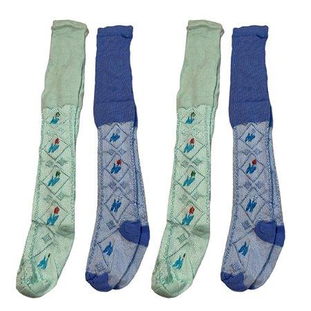 Kit com 4 Meia Calça infantil azul e verde tamanho M 2/3 anos