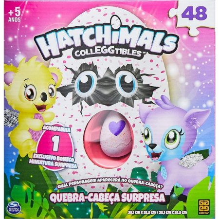 Quebra-Cabeça Surpresa C/ um mini Bichinho Surpresa Hatchimals - Grow