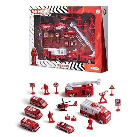 Kit Bombeiro Mini Resgate Com Cenário Temático Multilaser