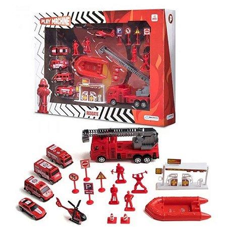 Play Machine Bombeiro Resgate Vermelho Multikids - Br969