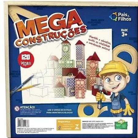 Jogo Mega Construções 120 Peças Em Madeira Pais E Filhos