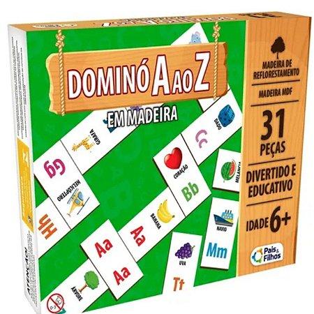 Jogo De Dominó A Ao Z Em Madeira - 31 Peças