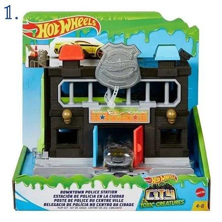 Hot Wheels City Pista - Delegacia De Polícia - Estação Tóxica - Loja De Hambúrguer - Mattel