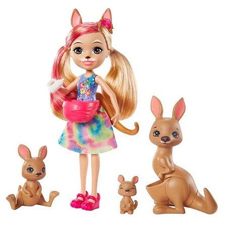 Enchantimals Família Kamilla Kangaroo e Tote - Mattel