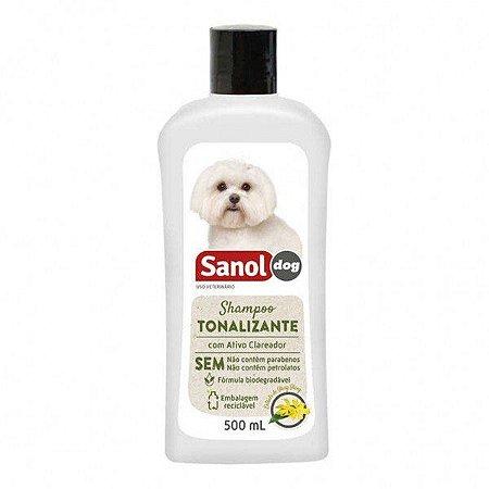 Shampoo Tonalizante Pelos Claros Sanol Dog 500 ml