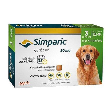 Antipulgas Simparic Zoetis 80 mg p/ Cães 20,1 a 40 kg - 3 comprimidos mastigáveis