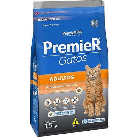 Premier Ambientes Internos Gatos Adultos Sabor Frango 1,5 kg