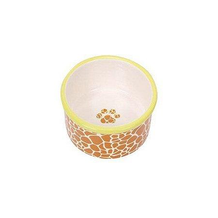 Comedouro de Cerâmica Chalesco Amarelo