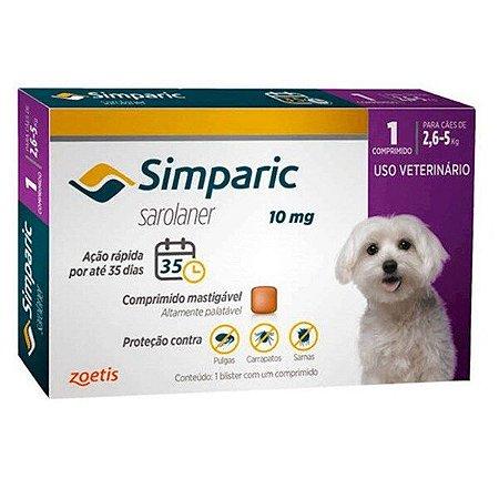 Antipulgas Simparic 10 mg para cães 2,6 a 5kg - c/ 1 comp.