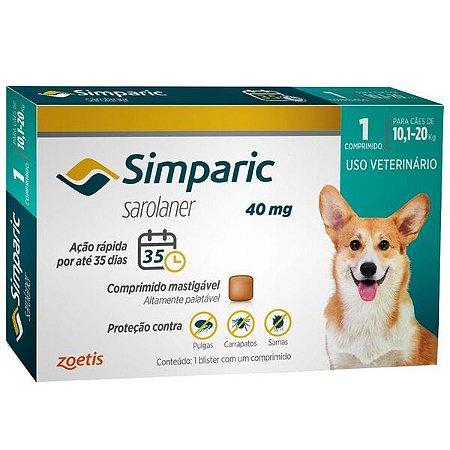 Antipulgas Simparic 40 mg p/ cães 10,1 a 20 kg - c/ 1 comp.