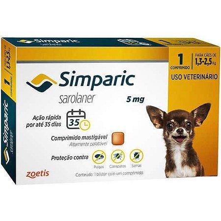 Antipulgas Simparic 5mg para cães 1,3 a 2,5kg - c/ 1 comp.