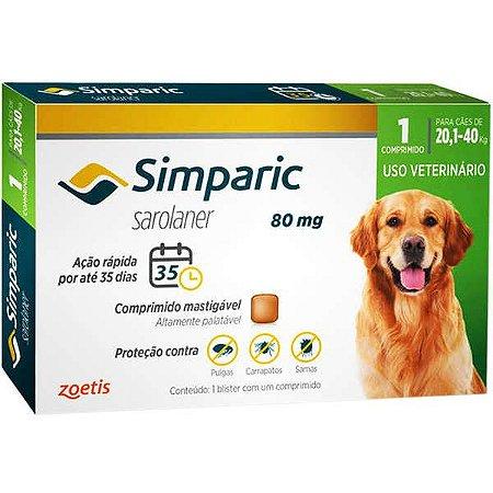 Antipulgas Simparic 80 mg para cães 20,1 a 40kg - c/ 1 comp.