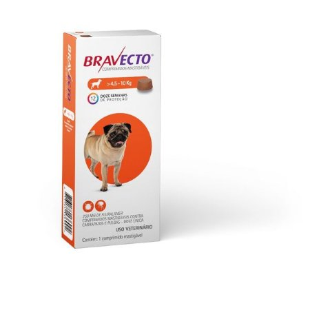 Antipulgas e Carrapatos Bravecto 250gr p/ Cães de 4,5 a 10kg