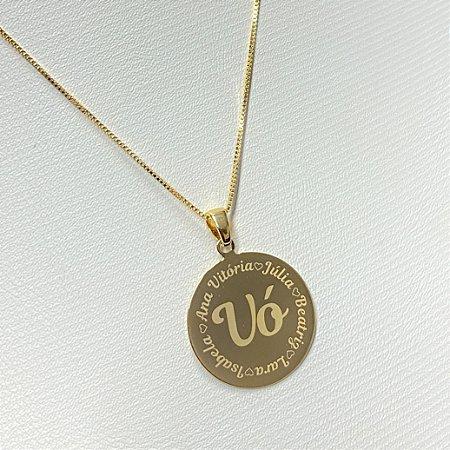 Gargantilha Mandala Personalizada 5 ou mais Filhos(as) - Banhado a Ouro 18k