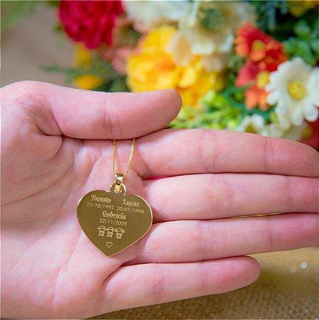 Gargantilha Coração Grande Personalizado 3 ou mais Filhos(as) - Banhado a Ouro 18k