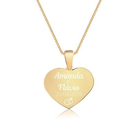 Gargantilha Coração Pequeno Personalizado Nomes Casal - Banhado a Ouro 18k