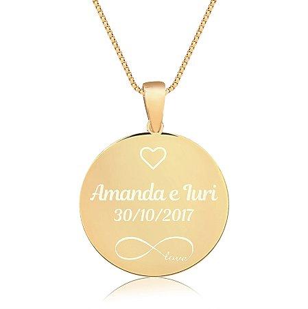 Gargantilha Mandala Personalizada Nomes Casal - Banhado a Ouro 18k