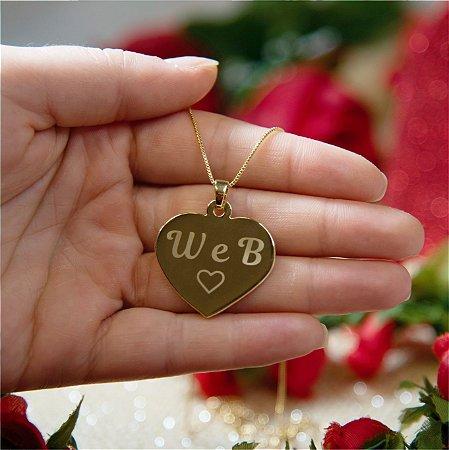Gargantilha Coração Grande Personalizado Iniciais Casal - Banhado a Ouro 18k