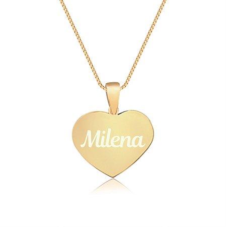 Gargantilha Coração Pequeno Personalizado com Nome ou Inicial - Banhado a Ouro 18k